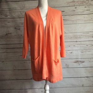Eileen Fisher Open Front Cardigan Tangerine Size M